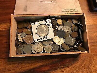 T2: Lot of 6 Pounds World Coins + .720 Silver 1953 5 Peso