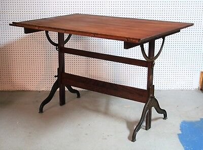 1920's antique DIETZEN solid oak DRAFTING TABLE cast iron EARLY CENTURY awesome