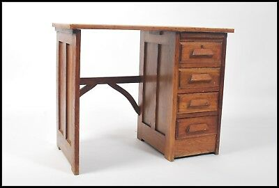 Vintage Industrial oak single Pedestal Oak Desk art deco 1920s small desk.....
