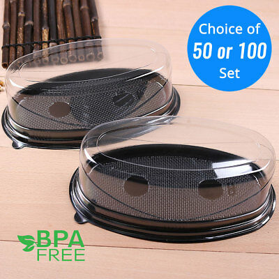 50/100 Black Base Oval Take Out Platter Cake Bread Container w/ Clear Lid OA