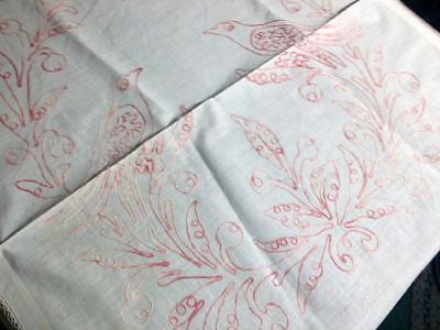 Antique Pure Linen Pillow Lay Over Turkey Red Love Birds Red Work 28x30