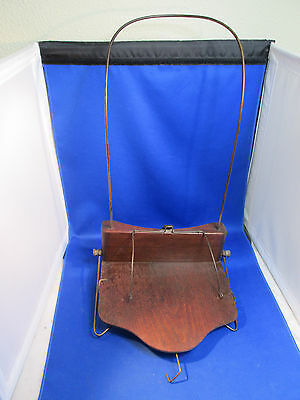 1887 Patent Date PORTABLE BOOK HOLDER Walnut Base & Wire Neck Loop + Page Spring