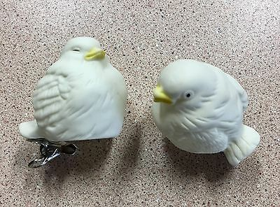Pair of Vintage Clip On Lovebirds Thin Delicate Porcelain Bisque Ceramic 2""