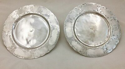Antique Turkish Ottomon Empire PAIR Sterling Silver Service Plates Hand Chased