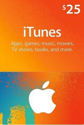 iTunes $25 Gift Card. NEW! UNUSED! FREE SHIPPING!!!!!