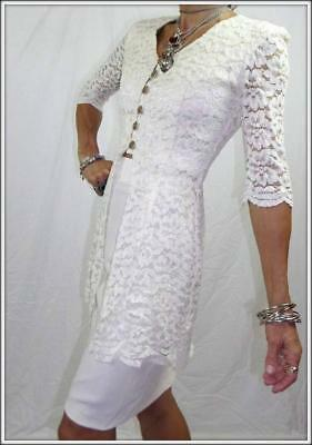 VINTAGE 80s GREG SERNACK 8 cream LACE JACKET high waist PENCIL SKIRT dress suit