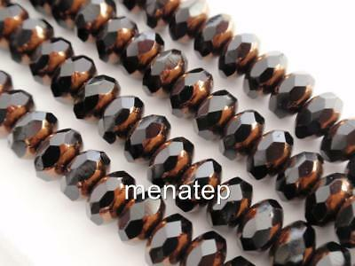 Picasso Jet 25 5x7mm Czech Glass Gemstone Donut Beads