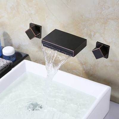 Oil Rubbed Bronze Brass Bathroom Faucet Waterfall Spout Vanity Sink Mixer Tap