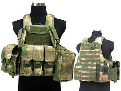 Tactical Military Airsoft Paintball Camo Level 5 Molle Combat Vest ATFG Color