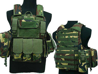 Tactical Military Airsoft Paintball Camo Level 5 Molle Combat Vest WC