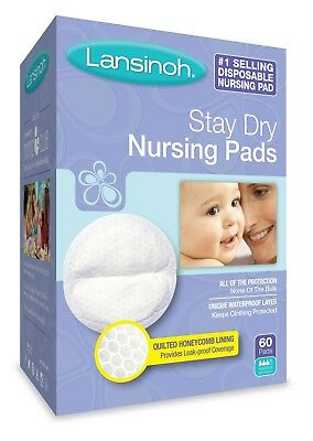Lansinoh Stay Dry Disposable Nursing Pads, 60 Count Boxes (Pack of 4)