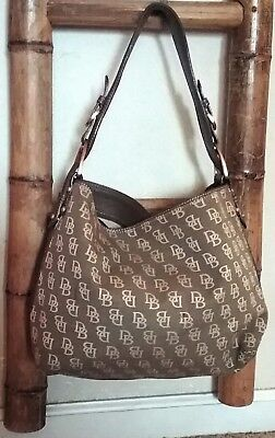 Dooney & Bourke Shoulder Purse,  Brown Canvas with Leather