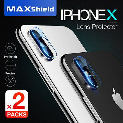 2X MAXSHIELD iPhone X Xs Max 8 7 Plus Camera Lens Tempered Glass Protector