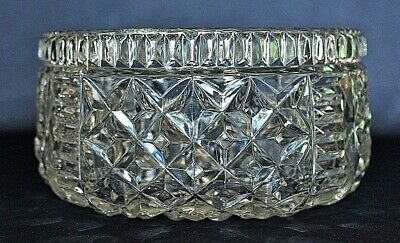 Vintage Heavy Crystal Bowl With Diamond & Prism Pattern