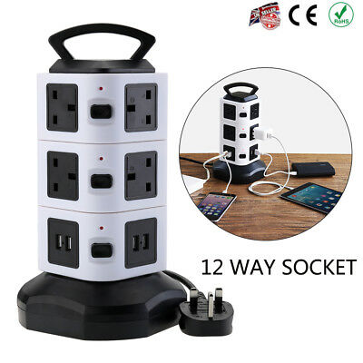 3 Layer 10 Way USB Port Tower Power Strip Surge Protector Socket Extension Lead