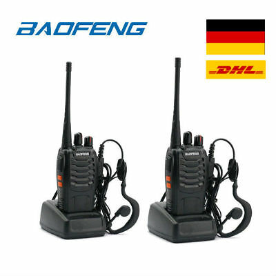 DHL! 2* Baofeng BF-888S + 2*Headset UHF CTCSS/CDCSS Hand-Funkgerät Walkie-Talkie