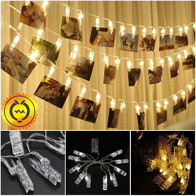 10/20/30 LED Hanging Picture Photo Peg Clip Shape Fairy Wire String Lights Chain