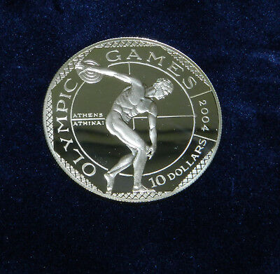 """Münze Cook Islands Olympia 2004 """"Antiker Diskuswerfer"""" 10 Dollars Silber 925 pp"""