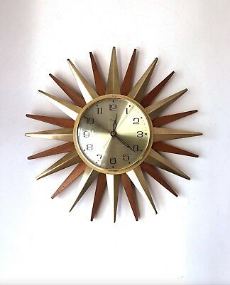 60s Stylish Vintage Retro Paico Sunburst Starburst Teak And Brass Wall Clock