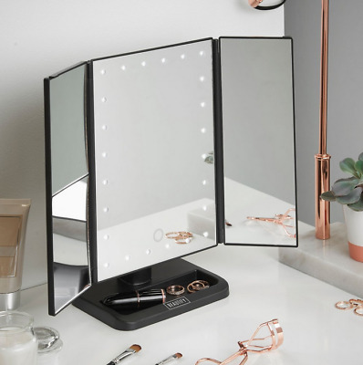 Beauty Mirror With Lights LED Magnified Folding Trifold Dimable Makeup Bedroom