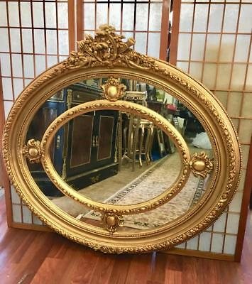 Large French Louis Gold Wall / Over Mantle Oval Mirror...with Mirror Surrounds