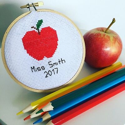 Personalised Teachers Gift - Cross Stitch Custom Made