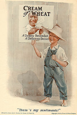 Them's My Sentiments! Tom Sawyer Cream of Wheat Ad - 1913 - James Leslie Wallace