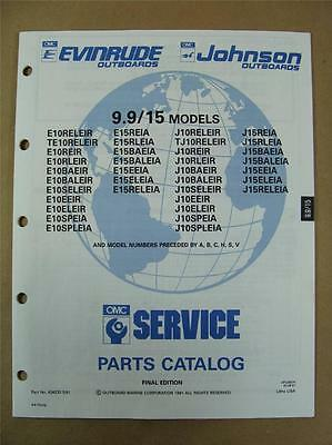 1991 OMC Johnson Evinrude 9.9 & 15 HP Outboard Motor Engine Parts Catalog 434233