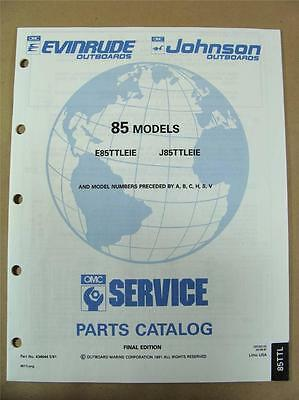1991 Omc Johnson Evinrude Ei 85 Hp Outboard Engine Motor Parts Catalog 434644