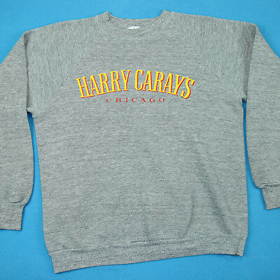 Vintage 80s HARRY CARAY'S Chicago Cubs Gray Tri Blend Rayon Sweatshirt Shirt XL