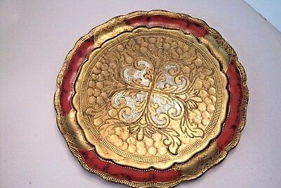 "Vtg Italian Florentine Gilt RED & GOLD Round Tray wood 9.5"" EUC ""Old Castle"""