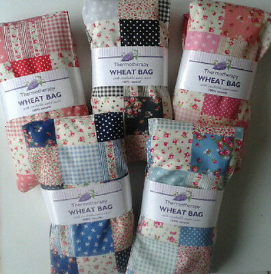 Patchwork Wheat Bags Microwave Heat body wraps Lavender and Wheat Multi