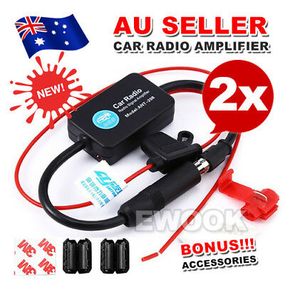 2X Auto Car Hidden Aerial Radio Signal Booster Amplifier AMP Strengthen 25db 12V
