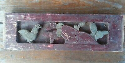 Antique Chinese Furniture Architectural Hand Carved Wood Panel (#4) chicken/hen