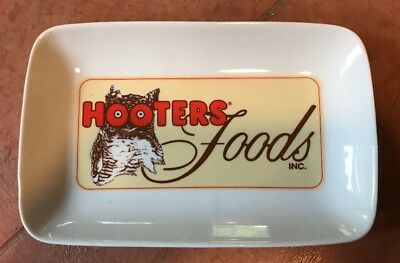 """Hooters Foods Wing Plate Platter Tray Owl 9 1/4 X 6  X 1 1/4"""" Rectangle Ware"""