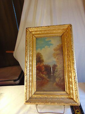 Oil Painting on Board Mountain Waterfall, unsigned Gold Frame