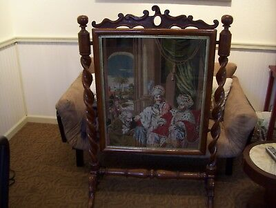 1870's NEEDLEPOINT FIREPLACE SCREEN - HUGE AND RARE - LOOK AND COMPARE!!