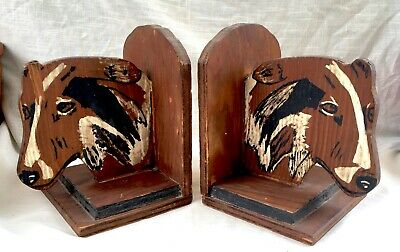 Pair of Antique Hand Made/Painted Wood Folk Art Bookends - Collie Dogs