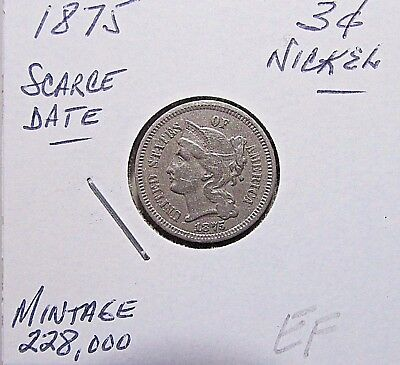 Scarce...1875, 3 Cent Nickel***Better VF+ To EF Or So Details***