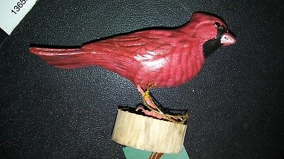 cardinal perched on wood, hand carved painted, wood, John Madison, w/tag