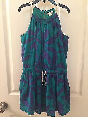 Crewcuts J Crew Girls' Green and Blue Floral Gauze Romper Size 10 Pockets