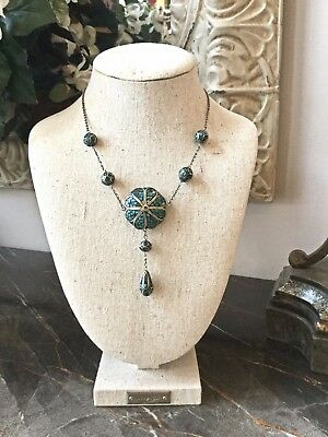 Vintage Art Deco 1940's Turquoise & Silver Mosaic Inlay Dangle Drop Necklace