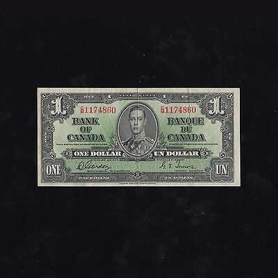Bank of Canada 1937 One Dollar Gordon Towers Bill, in XF(-)  Condition