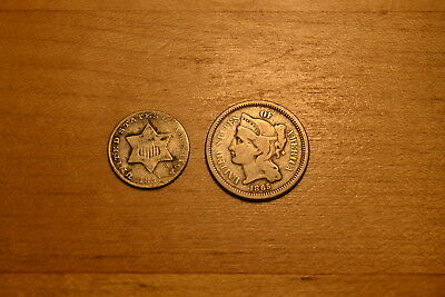 1851 3¢ Silver AND 1865 3¢ Nickel ~ Nice Type Coins!!