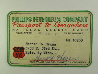 Phillips Petroleum Company  - 1947 National Credit Card