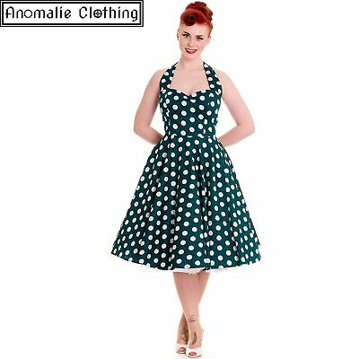 Hell Bunny Teal and White Polka Dot Mariam Dress 1950s Vintage Retro Rockabilly