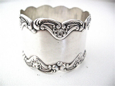 Gorham sterling silver napkin ring with unusual art nouveau edges. No monogram