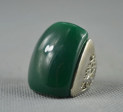Collectable Handwork Decor Miao Silver Carve Flower Inlay Jade Auspicious Ring
