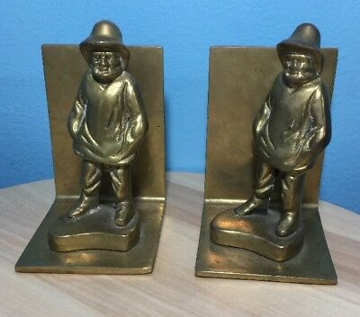 Pair of Vintage OLD MAN BY THE SEA Brass Bookends~Heavy