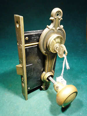 VINTAGE RUSSWIN ART DECO ENTRY MORTISE LOCK w/CYLINDER & KEY & PLATES (9629)